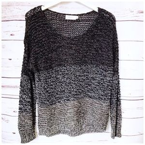 RD Style Gray tone color block open weave sweater